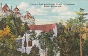 Arkansas Eureka Springs Crescent Hotel With Catholic Church In Foreground 194...
