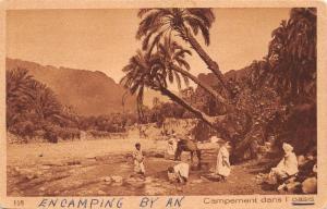 ASSUAN EGYPT CAMPEMENT DANS OASIS-LEHNERT & LANDROCK PUBL SEPIA POSTCARD 1930s
