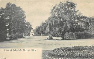 Detroit Michigan~Drive @ Belle Isle Park~Man Sitting under Willow Tree~c1905 Pc