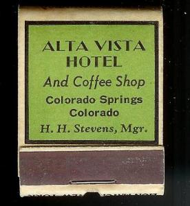 ALTA VISTA HOTEL Colorado 1940's Full Unstruck Matchbook