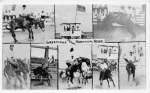 F53/ Harrison Nebraska RPPC Postcard 1947 8View Rodeo Bronco Riding