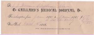 1882 Subscription and Letter, GAILLARD'S MEDICAL JOURNAL,...