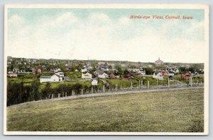 Carroll Iowa~Birdseye View Across Field~Homes~Back Yards~Farms~Court House~1921