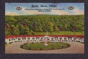 CT Berlin Arms Motel NEW HAMPSHIRE Postcard LINEN PC
