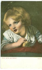 Girl with an Apple, by Greuze, 1905 used Postcard