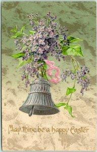 Vintage HAPPY EASTER Embossed Greetings Postcard Silver Bell / Purple Flowers