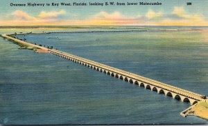 Florida Keys Oversea Highway Looking Southwest From Lower Matecumbe