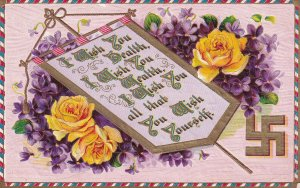 WELL WISHES, PU-1909; Banner, Violets & Yellow Roses, Gold Swastika