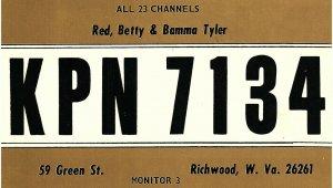 Vintage QSL Postcard KPN 7134 Richwood, West Virginia Red Betty Bamma Tyler -T-