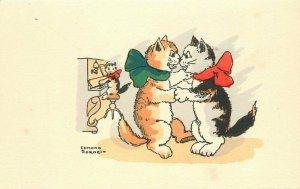 Comic humor 1920s Sornien Cats Romantic Piano Music hand colored postcard 8256