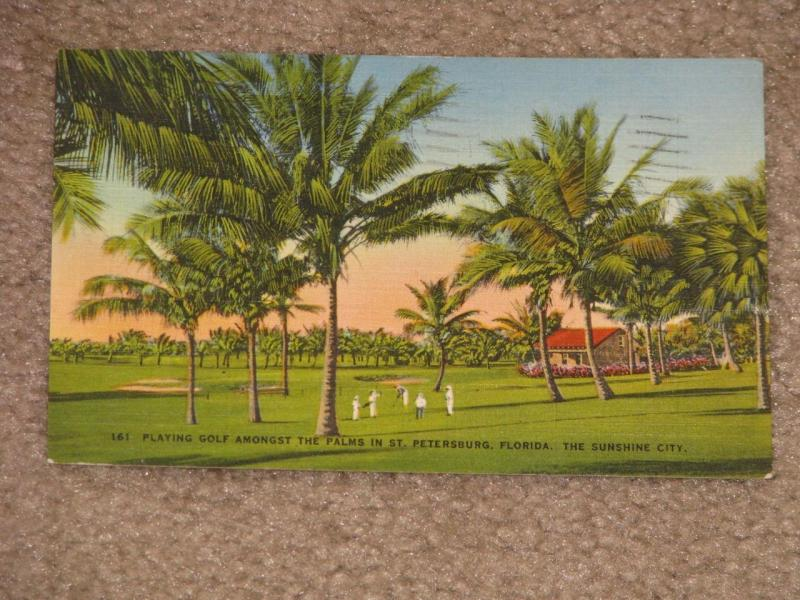Playing Golf Amongst the Palms-St. Petersburg, Florida, 1941, used vintage card