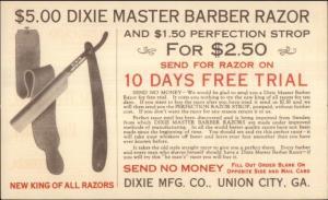 Union City GA Barber Razor Strop Dixie Mfg Co Private Mailing Card