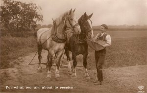 Feeding the horses. For wat we are about to receive Old vintage English PC