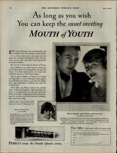 1927 Pebeco Tooth Paste Vintage Print Ad 3884