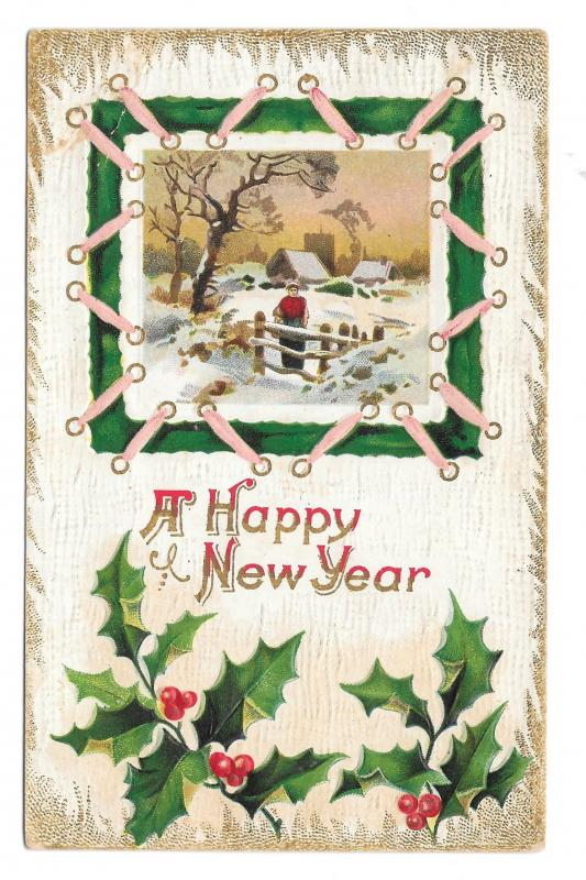 Happy New Year Holly Man by Fence in Winter Scene Vintage 1911 Embossed Postcard