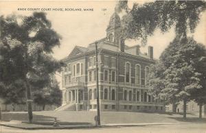 Rockland Maine~Knox County Court House~1930s B&W Postcard