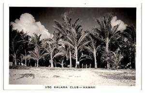 RPPC WWII-Era USO Kalama Club, Hawaii Real Photo Postcard *5D