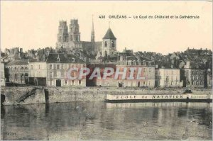 Old Postcard Orleans Quai du Chatelet and the Cathedral