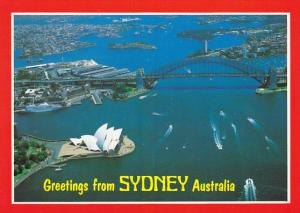 Aerial View Of Harbour Greetings From Sydney Australia