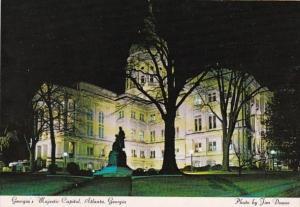 Georgia Atlanta State Capitol Building At Night