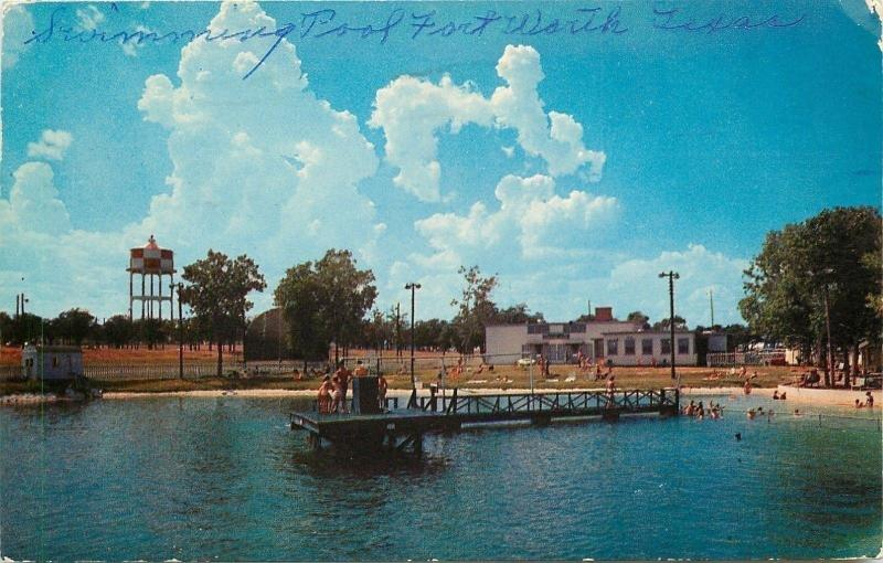 Fort Worth Texas~Carswell Air Force Base~Swimming Pool~Water Tower~1957 Postcard