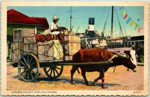 Postally-Used PHILIPPINES Postcard Carabao Freight Cart Ox / Linen 1938 Cancel