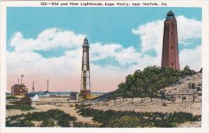 Old and New Lighthouse Cape Henry Near Norfolk Virginia