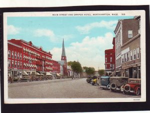 P1658 old unused postcard many old cars main st. & draper hotel northampton mass