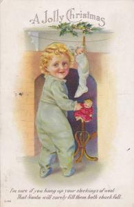 A Jolly Christmas, Poem, Boy reaching into stocking, holding a doll, PU-1914