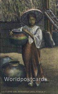 Filipino Girl, Water Jars Manila Philippines Unused