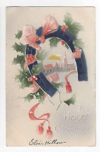 Christmas Air Brushed Postcard Horse Shoe Church Embossed 1908 Vintage UND