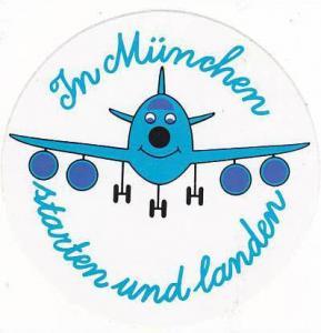 MUNICH AIRPORT VINTAGE AVIATION LABEL