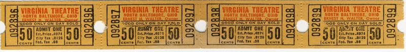4 Vintage Virginia Theatre Movie Tickets, North Baltimore, Ohio/OH