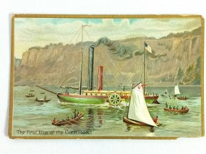 Vintage Postcard The First Trip of the Clermont Steamer Steamboat Tuck's