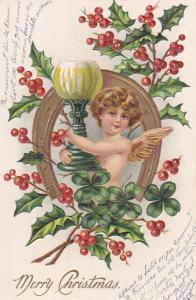 CHRISTMAS, 00-10s; Cherub framed by Horse shoe, Holly