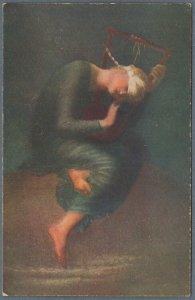 Old Allegoric Postcard Blinded Girl Playing Harp - Hope - Hoffnung