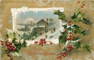 Christmas~Snow Framed Scene~Water Wheel Mill~Woman~Sheep~Holly~Gold~Emb~Winsch