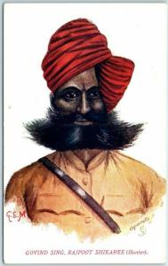 Tuck's Aquarette Postcard Native Tye of India Govind. Sing. Rajpoot Shikaree