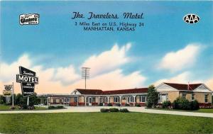 Manhattan Kansas~Travelers Motel~Best Western~TV Antenna~1950s Roadside