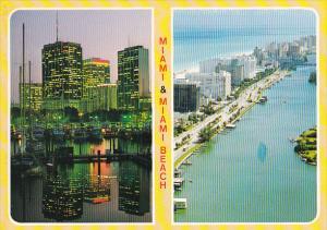 Aerial View Miami and Miami Beach Florida