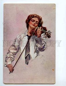 249334 Lady Violinist Harrison FISHER Razsvet Kiev RARE PC