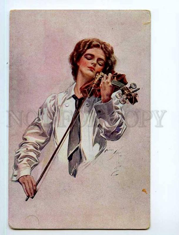 249334 Lady Violinist Harrison FISHER Razsvet Kiev RARE PC