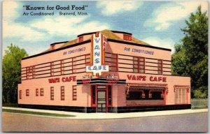 Brainerd, Minnesota Postcard VAN'S CAFÉ Restaurant / Street View Linen c1940s