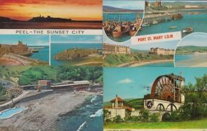 Peel Port Soderick Sunset Laxey Wheel Isle Of Man 4x 1970s Postcard