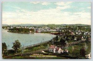 Laconia NH~Dixon's Point~Lake Winnisquam Birdseye Homes~RR Tracks~c1910