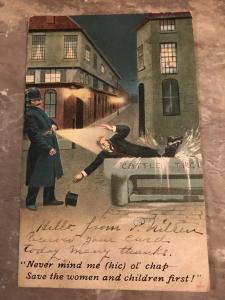 Early 1900's Comic Policeman & Drunk Postcard