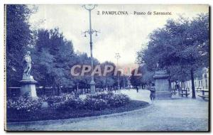 Old Postcard Pamplano Paseo de Sarasate