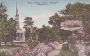 North Carolina Pinehurst Walk To Village Chapel In The Springtime Handcolored...