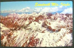 SAWTOOTH MOUNTAINS, Idaho ~ Mountain Range Snow Covered Vintage Postcard