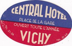 France Vichy Central Hotel Vintage Luggage Label sk2117